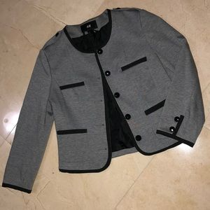 H&M Grey Jacket With Black Buttons & Details